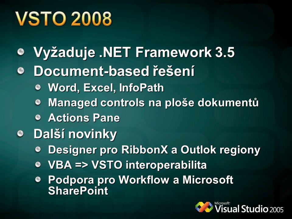 Vyžaduje.NET Framework 3.5 Document-based řešení Word, Excel, InfoPath Managed controls na ploše dokumentů Actions Pane Další novinky Designer pro Rib