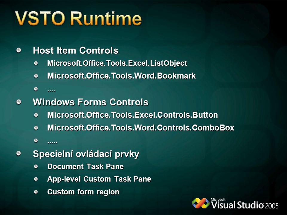 Host Item Controls Microsoft.Office.Tools.Excel.ListObjectMicrosoft.Office.Tools.Word.Bookmark....