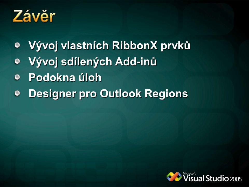 Vývoj vlastních RibbonX prvků Vývoj sdílených Add-inů Podokna úloh Designer pro Outlook Regions