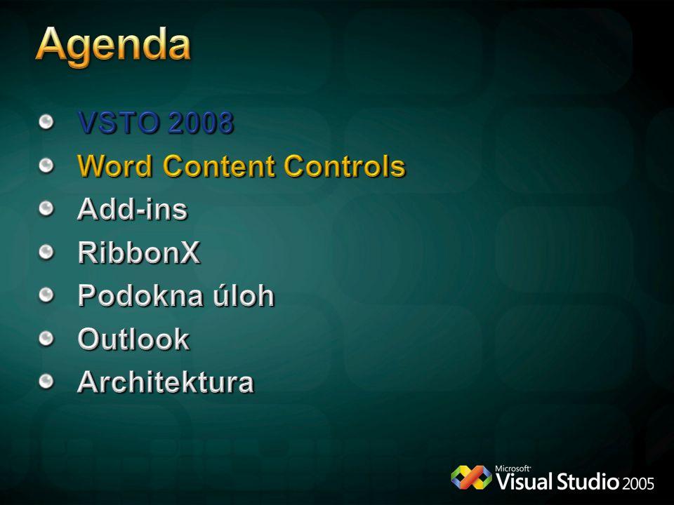 Tvorba XML schématu v prostředí vytvářením struktury dokumentu Prvky nemají vliv na layout dokumentu Prvky lze vkládat do skupin a s těmi poté pracovat Prvky lze namapovat na XML data Prvky se vkládají z ToolBoxu na Developer záložce Množství nastavení pro jednotlivé prvky Pro prázdné prvky lze nastavit řetězcové placeholdery