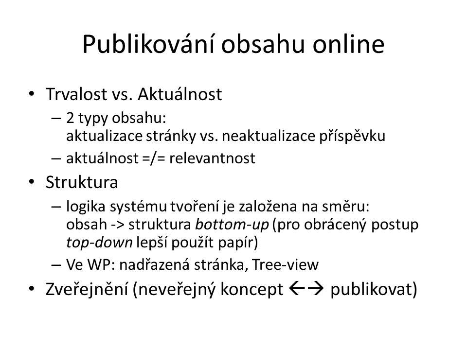 Publikování obsahu online Trvalost vs.Aktuálnost – 2 typy obsahu: aktualizace stránky vs.
