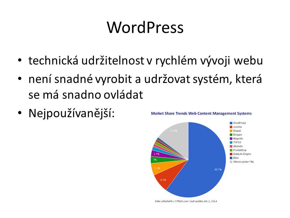 WordPress technická udržitelnost v rychlém vývoji webu není snadné vyrobit a udržovat systém, která se má snadno ovládat Nejpoužívanější: