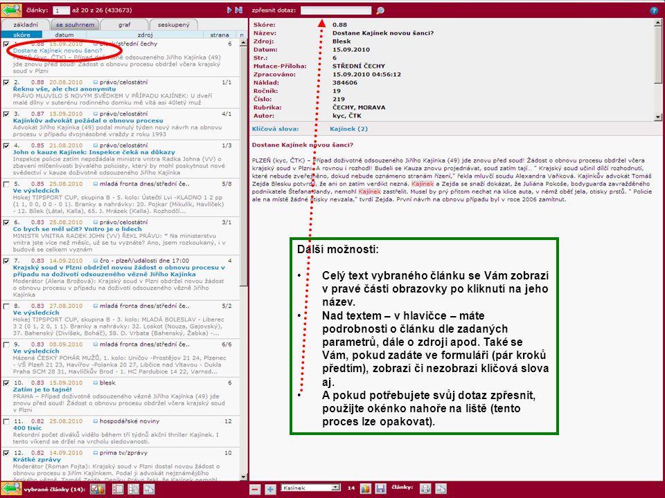 Další možnosti: Celý text vybraného článku se Vám zobrazí v pravé části obrazovky po kliknutí na jeho název. Nad textem – v hlavičce – máte podrobnost