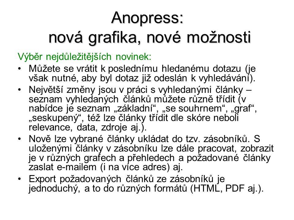 Anopress: nová grafika, nové možnosti Stručně k tvorbě dotazu: Klíčová slova nebo sousloví se zadávají oddělená čárkou.