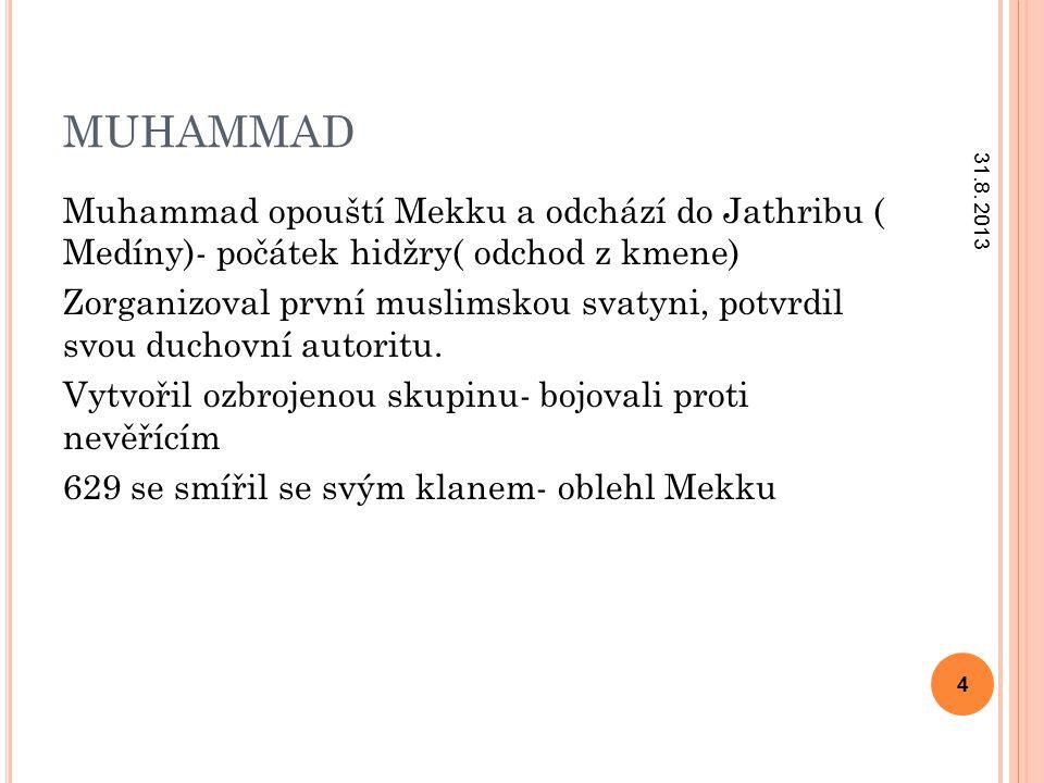 MUHAMMAD Muhammad opouští Mekku a odchází do Jathribu ( Medíny)- počátek hidžry( odchod z kmene) Zorganizoval první muslimskou svatyni, potvrdil svou duchovní autoritu.