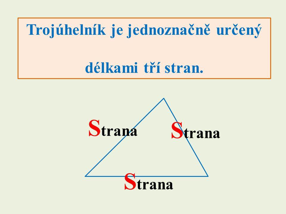 Trojúhelník je jednoznačně určený délkami tří stran. S trana
