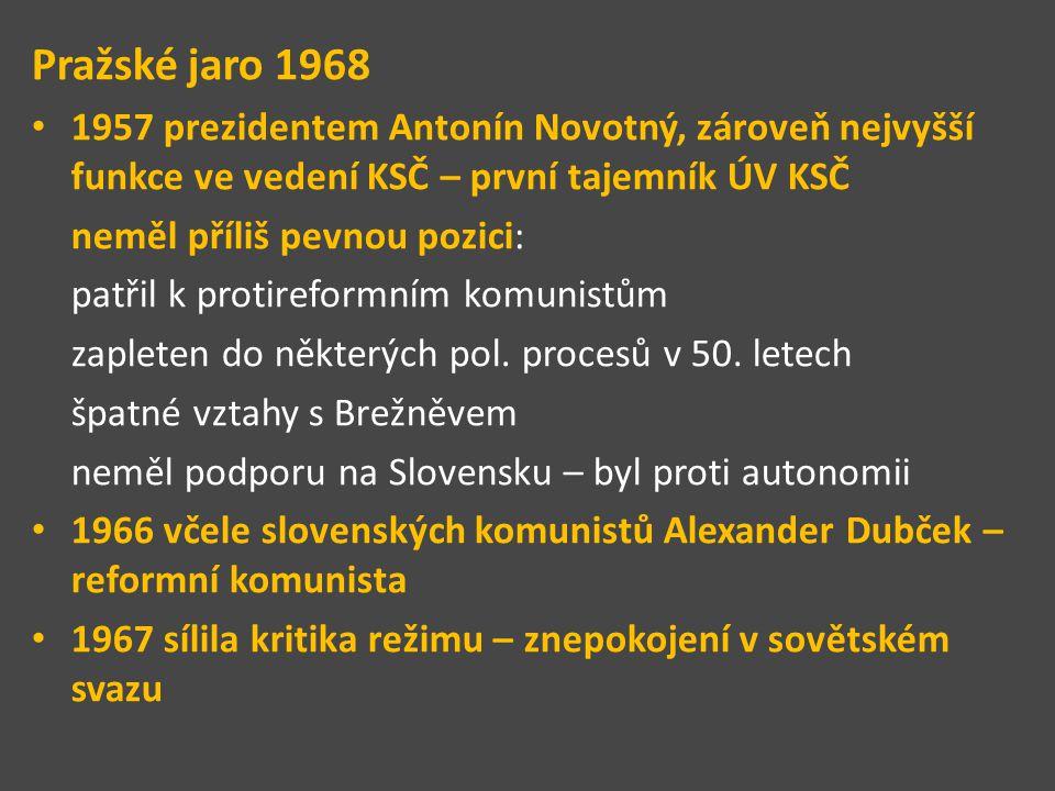 Pražské jaro 1968 1957 prezidentem Antonín Novotný, zároveň nejvyšší funkce ve vedení KSČ – první tajemník ÚV KSČ neměl příliš pevnou pozici: patřil k