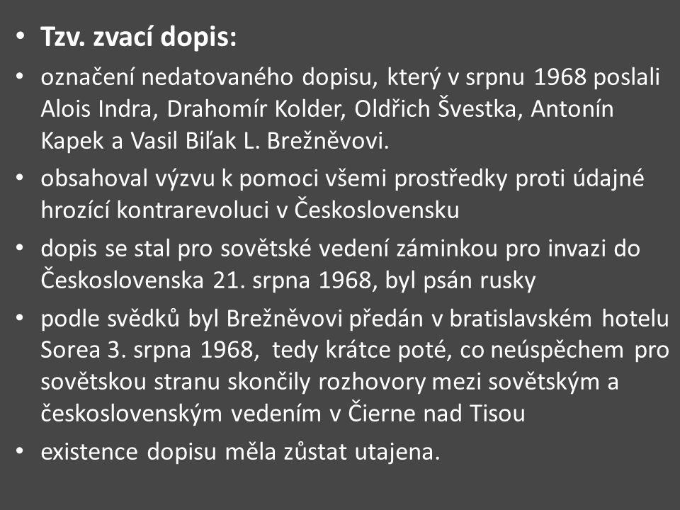Tzv. zvací dopis: označení nedatovaného dopisu, který v srpnu 1968 poslali Alois Indra, Drahomír Kolder, Oldřich Švestka, Antonín Kapek a Vasil Biľak