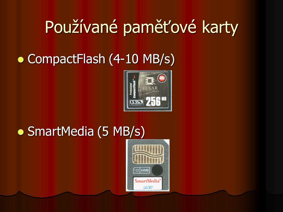 Používané paměťové karty Memory Stick PRO (2,5 MB/s) Memory Stick PRO (2,5 MB/s) SD card (10 MB/s) SD card (10 MB/s)
