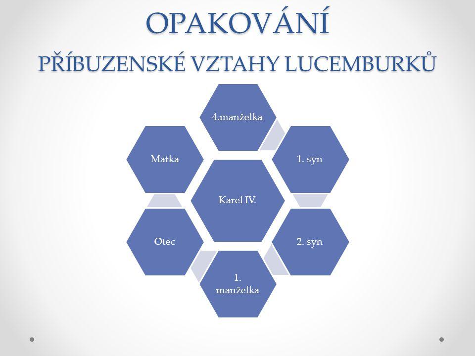 OPAKOVÁNÍ LUCEMBURKOVÉ Spojte jednotlivé lucemburské panovníky s pojmy