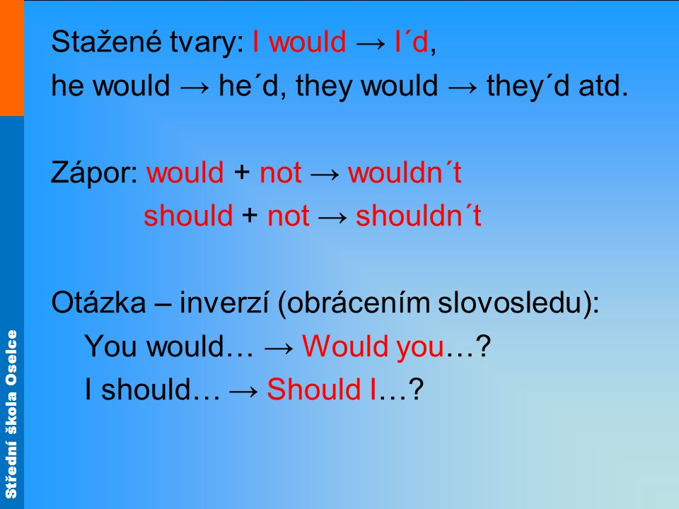 Střední škola Oselce Další tvary I CAN → I COULD: mohl bych Zápor: I could not / couldn´t Otázka: Could I….