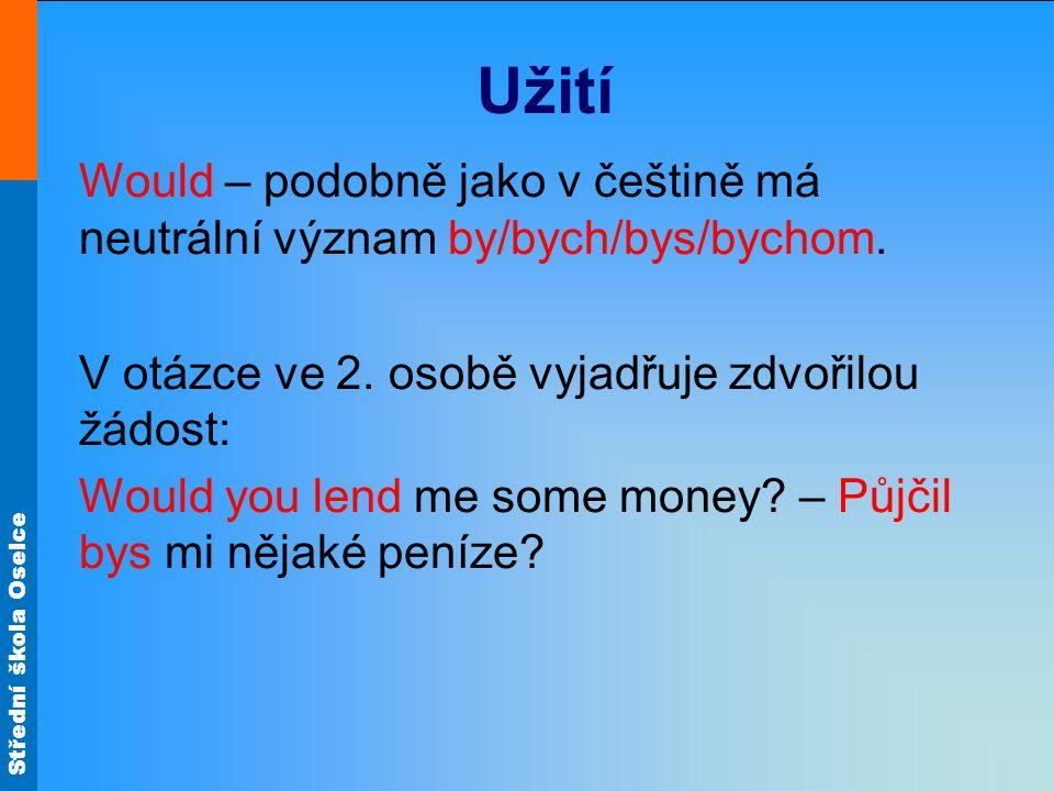 Střední škola Oselce Užití Would – podobně jako v češtině má neutrální význam by/bych/bys/bychom.