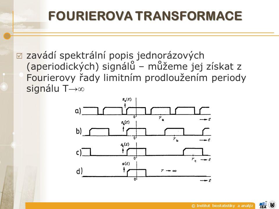 © Institut biostatistiky a analýz  zavádí spektrální popis jednorázových (aperiodických) signálů – můžeme jej získat z Fourierovy řady limitním prodloužením periody signálu T →  FOURIEROVA TRANSFORMACE