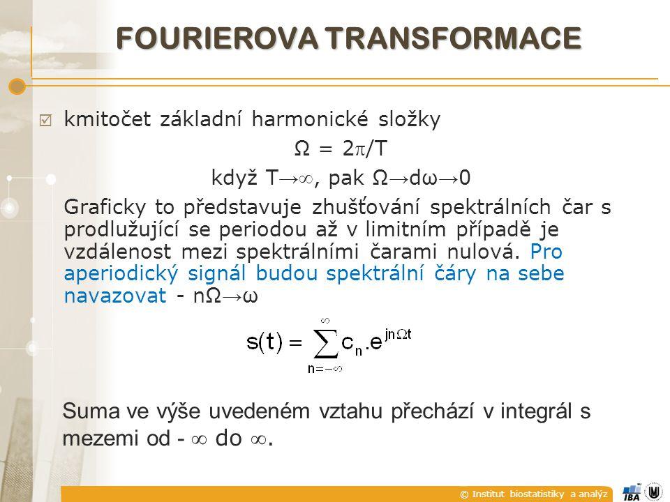 © Institut biostatistiky a analýz  kmitočet základní harmonické složky Ω = 2/T když T → , pak Ω → dω → 0 Graficky to představuje zhušťování spektrá