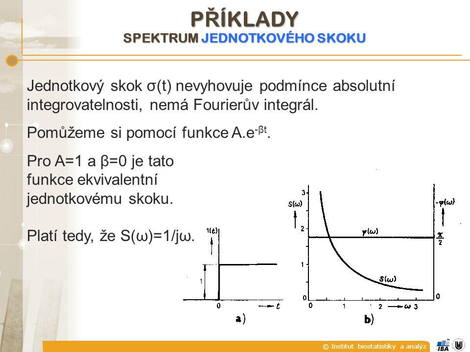 © Institut biostatistiky a analýz Jednotkový skok σ(t) nevyhovuje podmínce absolutní integrovatelnosti, nemá Fourierův integrál. Pomůžeme si pomocí fu
