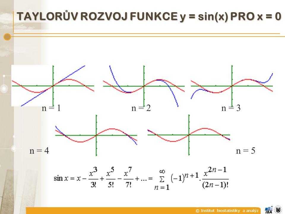 © Institut biostatistiky a analýz n = 1n = 2n = 3 n = 4n = 5 TAYLOR Ů V ROZVOJ FUNKCE y = sin(x) PRO x = 0