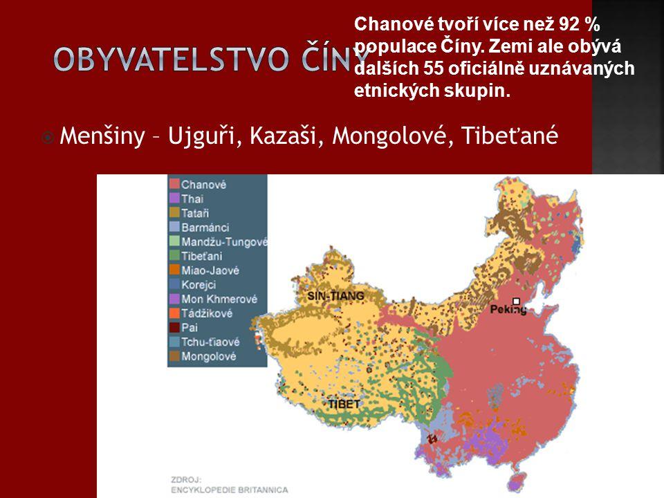  Menšiny – Ujguři, Kazaši, Mongolové, Tibeťané Chanové tvoří více než 92 % populace Číny. Zemi ale obývá dalších 55 oficiálně uznávaných etnických sk