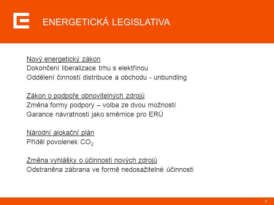 2 ENERGETICKÁ LEGISLATIVA Nový energetický zákon Dokončení liberalizace trhu s elektřinou Oddělení činností distribuce a obchodu - unbundling Zákon o