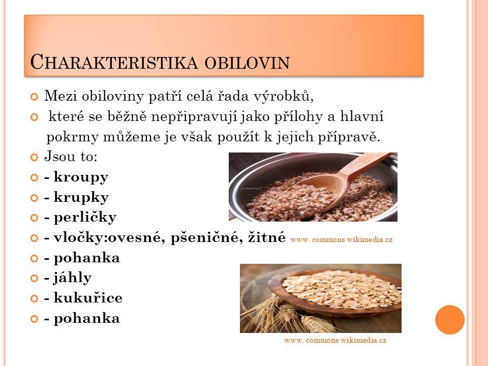 C HARAKTERISTIKA OBILOVIN Mezi obiloviny patří celá řada výrobků, které se běžně nepřipravují jako přílohy a hlavní pokrmy můžeme je však použít k jejich přípravě.