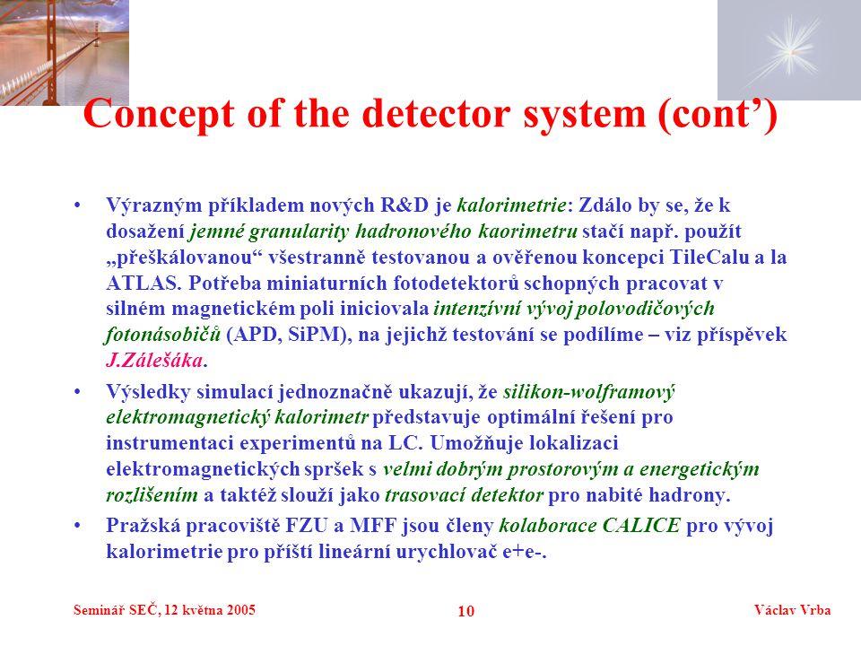 Seminář SEČ, 12 května 2005Václav Vrba 10 Concept of the detector system (cont') Výrazným příkladem nových R&D je kalorimetrie: Zdálo by se, že k dosažení jemné granularity hadronového kaorimetru stačí např.