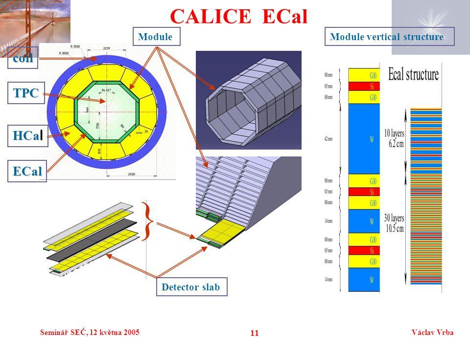 Seminář SEČ, 12 května 2005Václav Vrba 11 CALICE ECal TPC ECal HCa l tungsten coil ModuleModule vertical structure Detector slab }