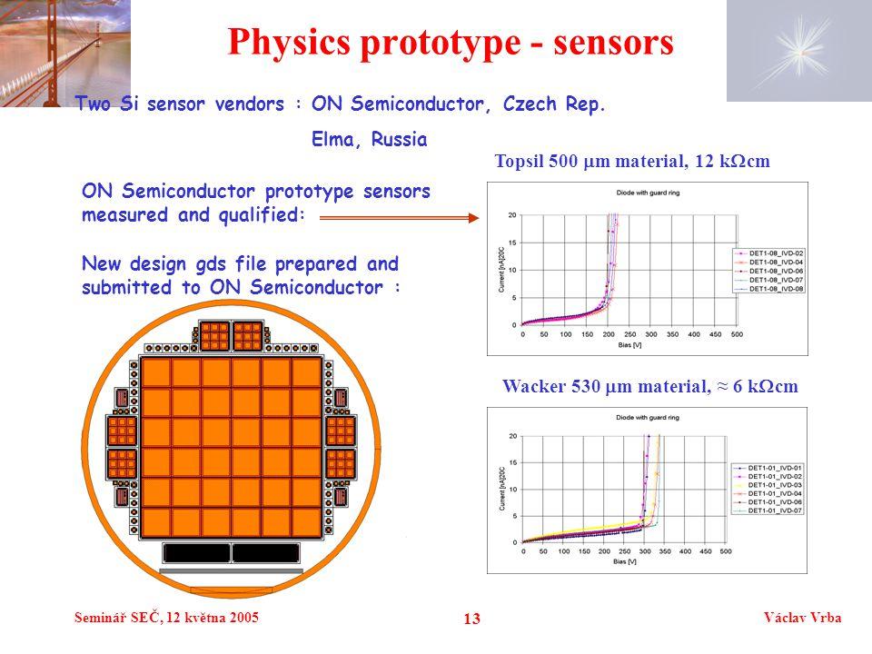 Seminář SEČ, 12 května 2005Václav Vrba 13 Physics prototype - sensors Wacker 530  m material, ≈ 6 k  cm Topsil 500  m material, 12 k  cm Two Si sensor vendors : ON Semiconductor, Czech Rep.