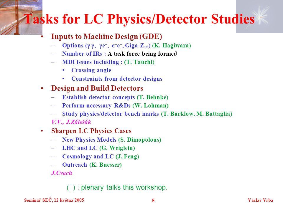 Seminář SEČ, 12 května 2005Václav Vrba 6 Detector Concept Studies SiD –Silicon tracker, 5T field –SiW ECAL North America LDC –TPC, 4T field –SiW ECAL ( medium radius) Europa – a la TESLA GLD –TPC, 3T field –W/Scintillator ECAL ( large radius) Japan