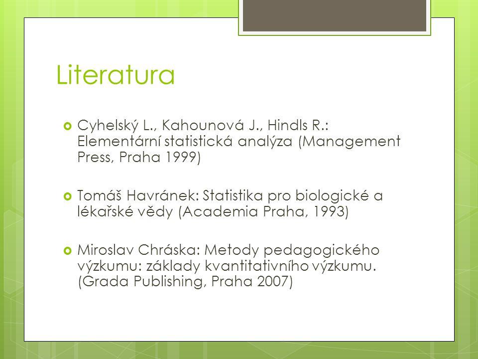 Literatura  Cyhelský L., Kahounová J., Hindls R.: Elementární statistická analýza (Management Press, Praha 1999)  Tomáš Havránek: Statistika pro bio