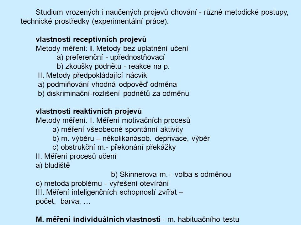 Studium vrozených i naučených projevů chování - různé metodické postupy, technické prostředky (experimentální práce). vlastnosti receptivních projevů