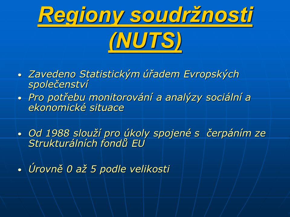 Regiony soudržnosti (NUTS) Zavedeno Statistickým úřadem Evropských společenství Zavedeno Statistickým úřadem Evropských společenství Pro potřebu monitorování a analýzy sociální a ekonomické situace Pro potřebu monitorování a analýzy sociální a ekonomické situace Od 1988 slouží pro úkoly spojené s čerpáním ze Strukturálních fondů EU Od 1988 slouží pro úkoly spojené s čerpáním ze Strukturálních fondů EU Úrovně 0 až 5 podle velikosti Úrovně 0 až 5 podle velikosti