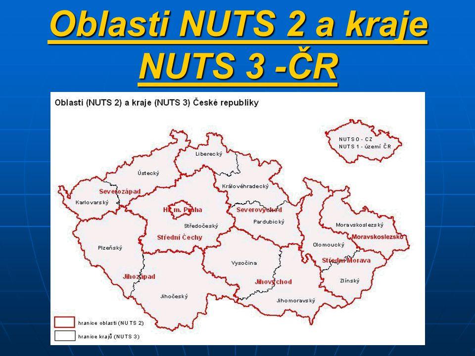 Oblasti NUTS 2 a kraje NUTS 3 -ČR
