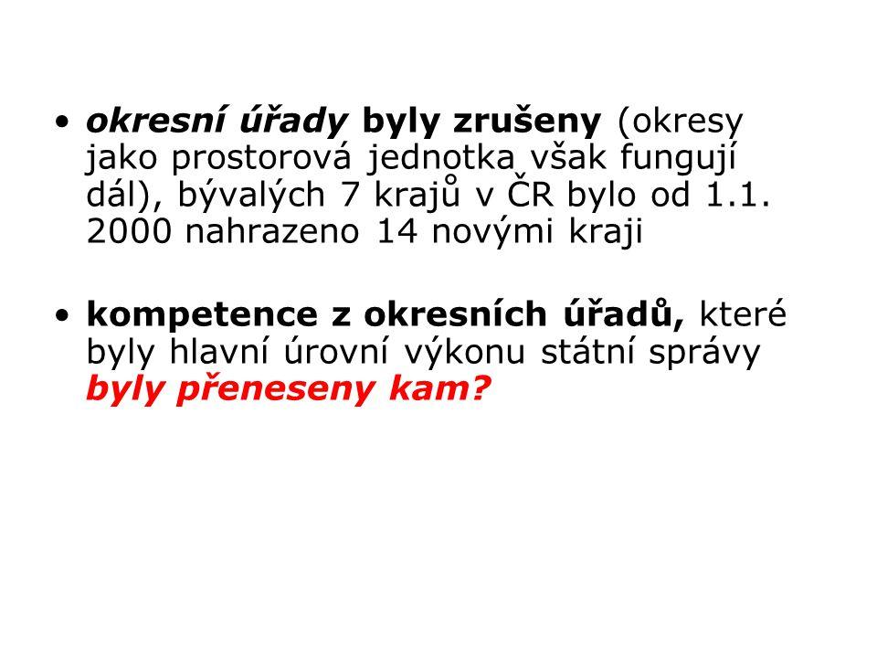 okresní úřady byly zrušeny (okresy jako prostorová jednotka však fungují dál), bývalých 7 krajů v ČR bylo od 1.1. 2000 nahrazeno 14 novými kraji kompe