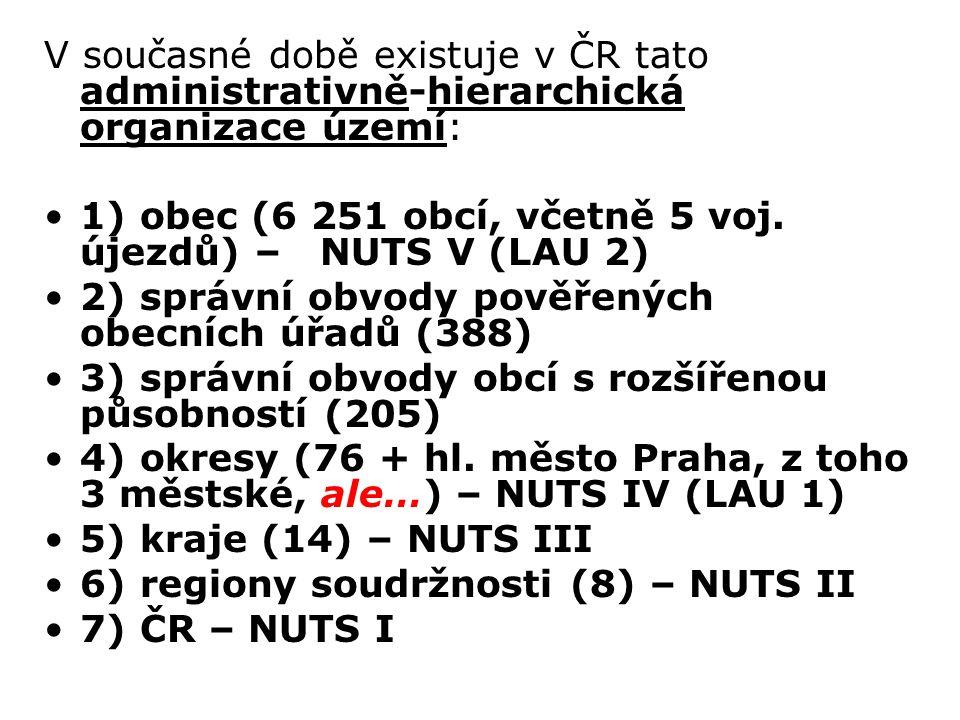 V současné době existuje v ČR tato administrativně-hierarchická organizace území: 1) obec (6 251 obcí, včetně 5 voj. újezdů) – NUTS V (LAU 2) 2) správ
