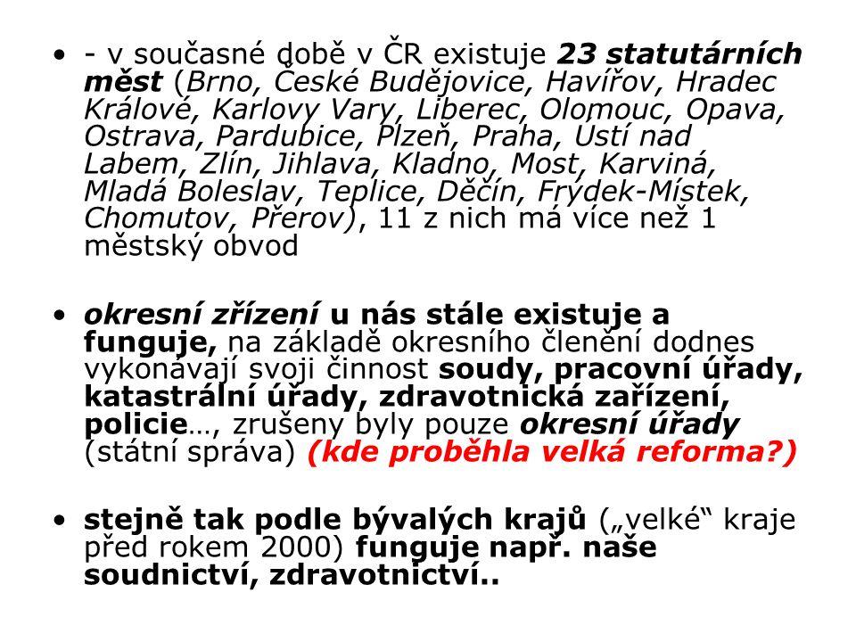 - v současné době v ČR existuje 23 statutárních měst (Brno, České Budějovice, Havířov, Hradec Králové, Karlovy Vary, Liberec, Olomouc, Opava, Ostrava,