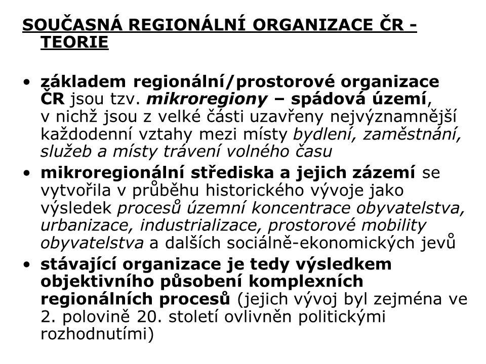 SOUČASNÁ REGIONÁLNÍ ORGANIZACE ČR - TEORIE základem regionální/prostorové organizace ČR jsou tzv. mikroregiony – spádová území, v nichž jsou z velké č