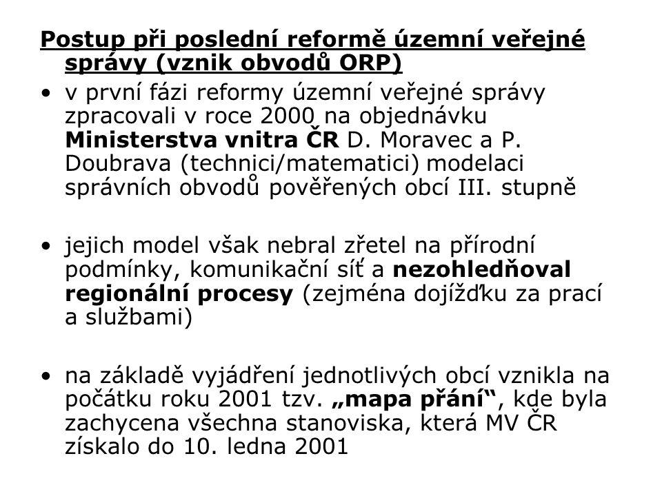 Postup při poslední reformě územní veřejné správy (vznik obvodů ORP) v první fázi reformy územní veřejné správy zpracovali v roce 2000 na objednávku M