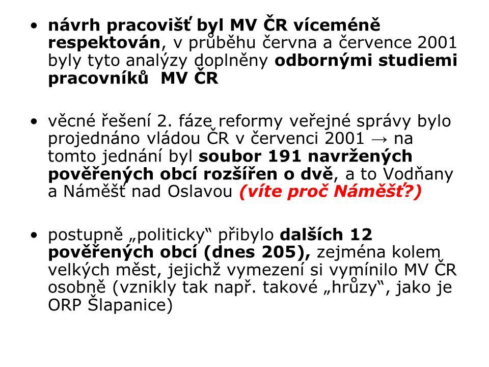 návrh pracovišť byl MV ČR víceméně respektován, v průběhu června a července 2001 byly tyto analýzy doplněny odbornými studiemi pracovníků MV ČR věcné