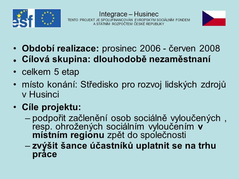Období realizace: prosinec 2006 - červen 2008 Cílová skupina: dlouhodobě nezaměstnaní celkem 5 etap místo konání: Středisko pro rozvoj lidských zdrojů