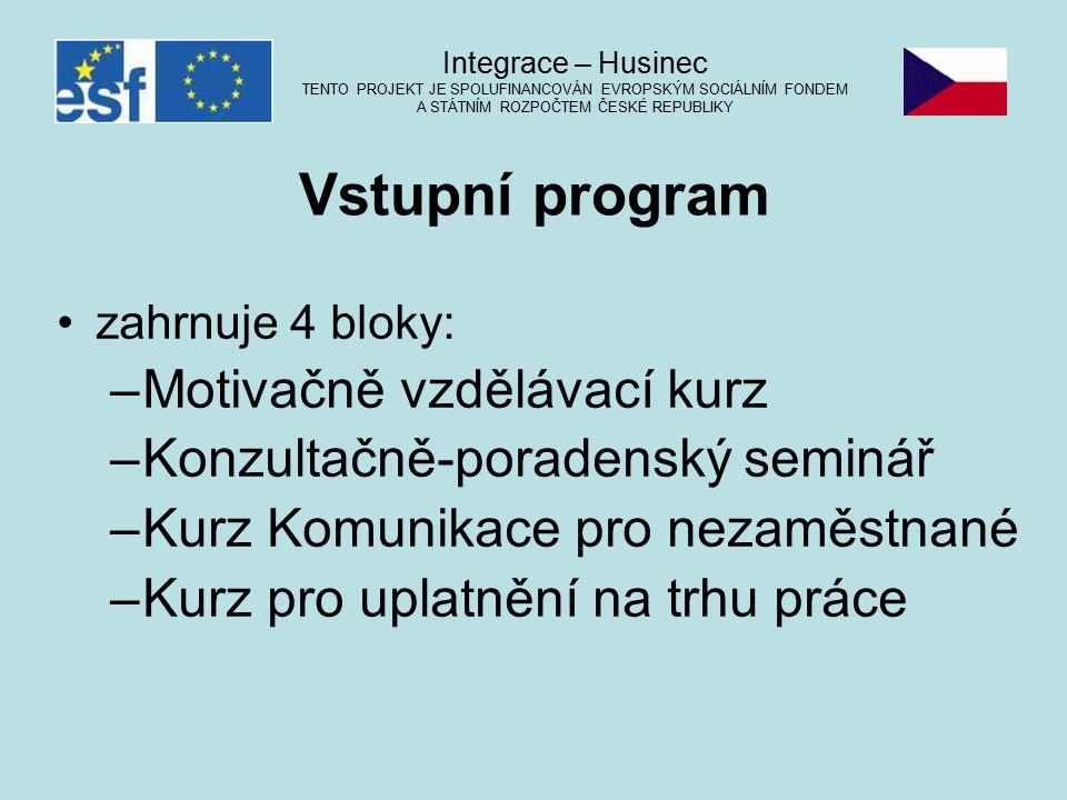zahrnuje 4 bloky: –Motivačně vzdělávací kurz –Konzultačně-poradenský seminář –Kurz Komunikace pro nezaměstnané –Kurz pro uplatnění na trhu práce Integrace – Husinec TENTO PROJEKT JE SPOLUFINANCOVÁN EVROPSKÝM SOCIÁLNÍM FONDEM A STÁTNÍM ROZPOČTEM ČESKÉ REPUBLIKY Vstupní program