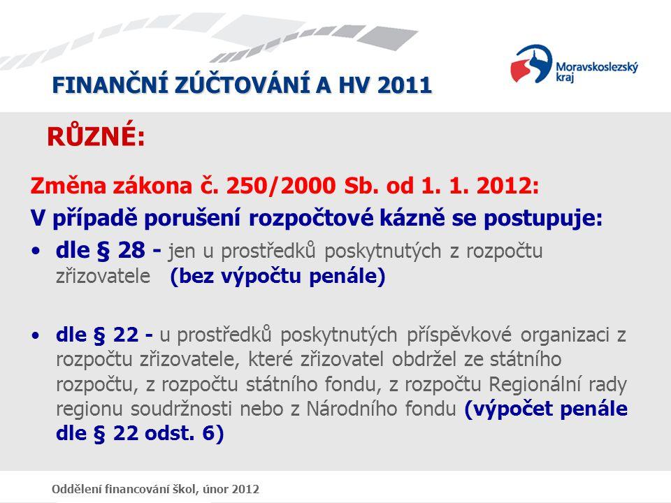FINANČNÍ ZÚČTOVÁNÍ A HV 2011 Oddělení financování škol, únor 2012 RŮZNÉ: Změna zákona č. 250/2000 Sb. od 1. 1. 2012: V případě porušení rozpočtové káz