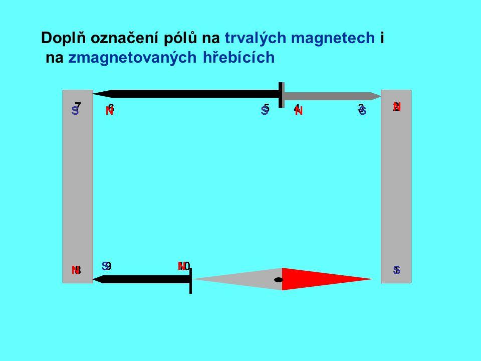 Doplň označení pólů na trvalých magnetech i na zmagnetovaných hřebících 8 7 6543 2 1 109 NS N S S S S N N N
