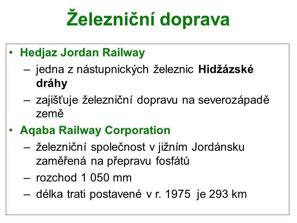 Železniční doprava Hedjaz Jordan Railway – jedna z nástupnických železnic Hidžázské dráhy – zajišťuje železniční dopravu na severozápadě země Aqaba Ra