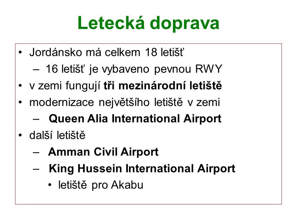 Letecká doprava Jordánsko má celkem 18 letišť – 16 letišť je vybaveno pevnou RWY v zemi fungují tři mezinárodní letiště modernizace největšího letiště