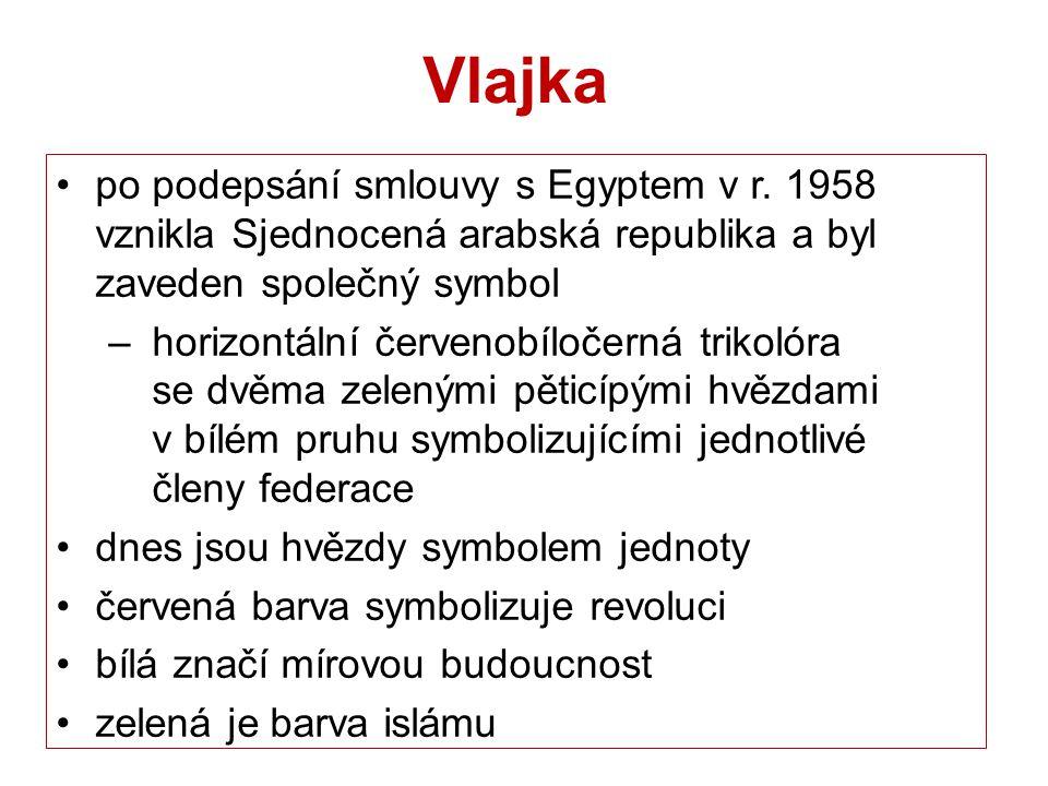 Vlajka po podepsání smlouvy s Egyptem v r. 1958 vznikla Sjednocená arabská republika a byl zaveden společný symbol – horizontální červenobíločerná tri