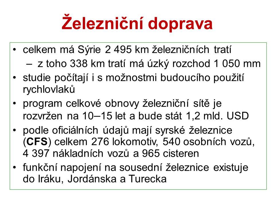 Železniční doprava celkem má Sýrie 2 495 km železničních tratí – z toho 338 km tratí má úzký rozchod 1 050 mm studie počítají i s možnostmi budoucího