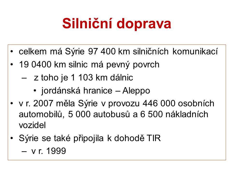 Silniční doprava celkem má Sýrie 97 400 km silničních komunikací 19 0400 km silnic má pevný povrch – z toho je 1 103 km dálnic jordánská hranice – Ale