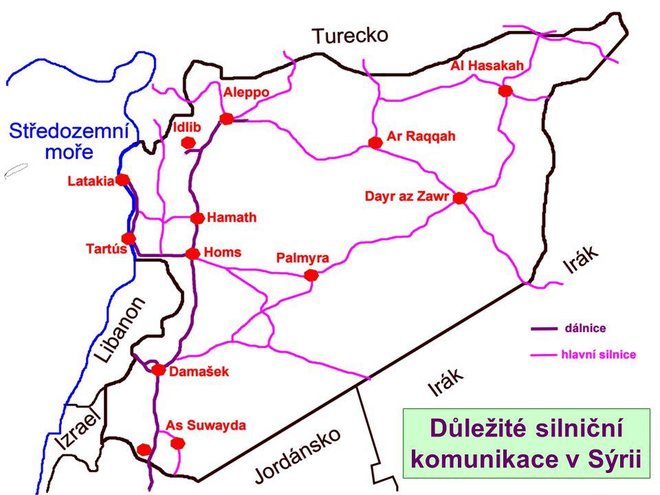 Důležité silniční komunikace v Sýrii