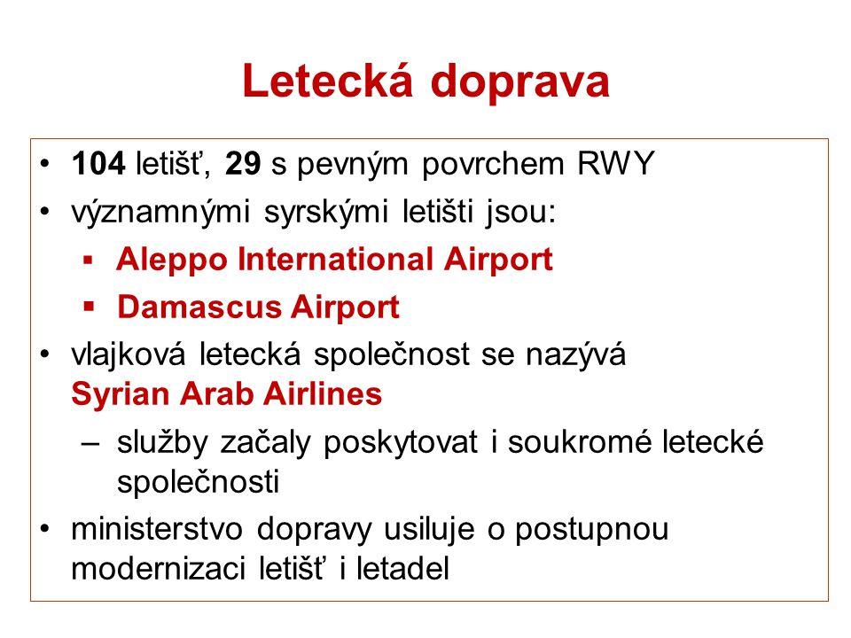 Letecká doprava 104 letišť, 29 s pevným povrchem RWY významnými syrskými letišti jsou:  Aleppo International Airport  Damascus Airport vlajková lete