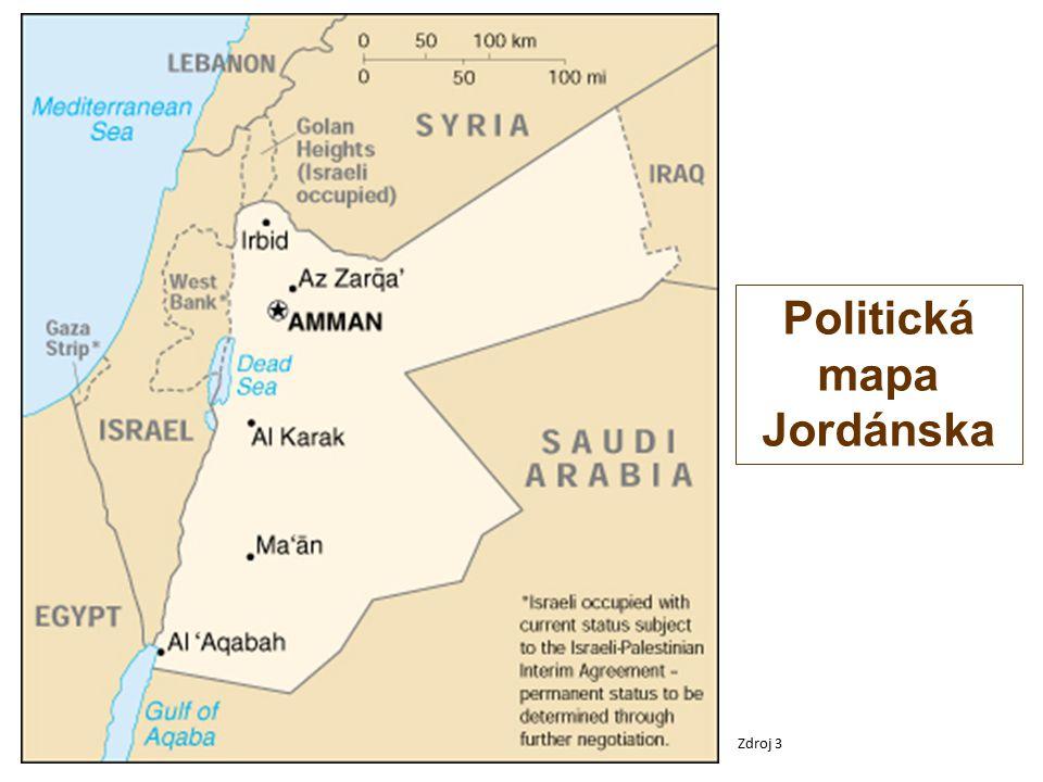 Politická mapa Jordánska Zdroj 3