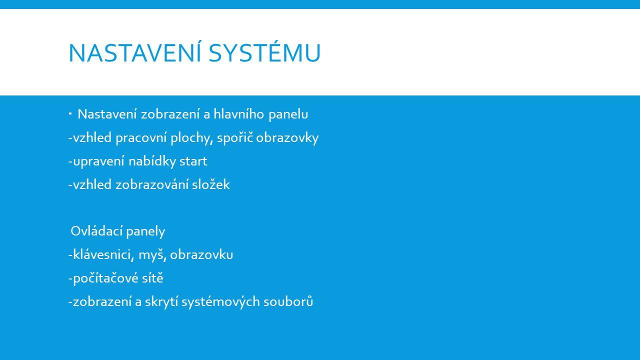 PŘEHLED NEJPOUŽÍVANĚJŠÍCH OS  Microsoft windows-jednotlivé verze se liší použitým jádrem, úrovní podpory multitaskingu, používanými knihovnami a účelem použití  Verze: Windows 1.0, Windows 95, Windows XP, Windows 7, Windows 8, Windows 10  Linux-šířen pomocí distribucí, volně šířitelný, je možné ho i volně upravovat -používá unixové jádro=umožňuje spouštět více programů najednou Apple OS-základem systému je systém Darwin=složen z hybridního jádra unixového typu a spolu s množstvím BSD, GNU, uživatelské rozhraní Aqua Verze: Mac OS X DP, Mac OS X 10.2 Jaguar, Mac OS X 10.6 Snow Leopard, OS X 10.10 Yosemite